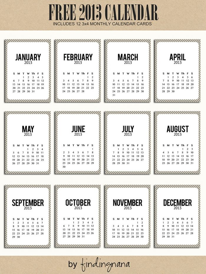 Free Printable 2013 Calendar For Project Life Project Life