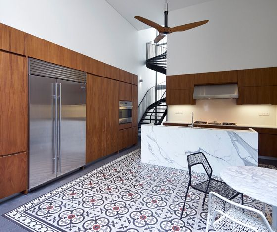Interior Design For Kitchen Tiles: Patterned Tile Floor In The Kitchen