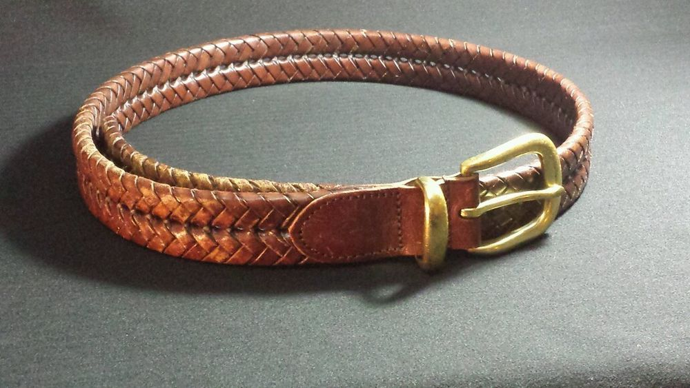 vintage braided leather belt with solid brass buckle