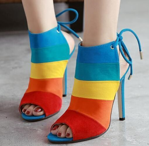 Peep Toe Lace Up Stripe High Heels 2 Colors