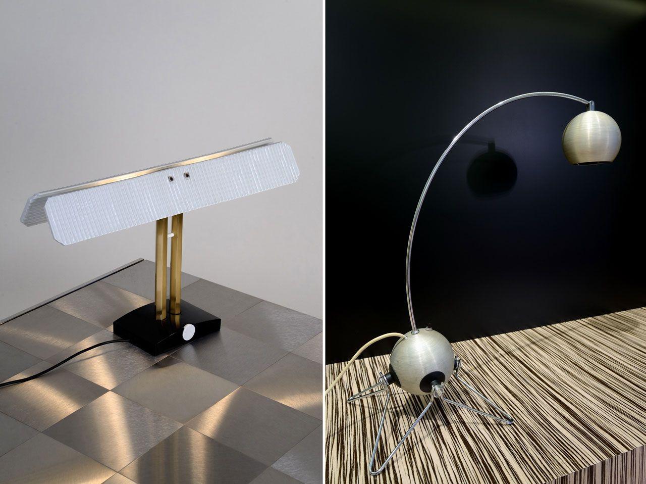 Left: Tobia Scarpa, Table lamp Capalonga, Flos, 1982 Right: Gino Sarfatti, Table lamp model 599, Arteluce, 1968 @ Galleria Fragile , Via San Damiano 2, Milan