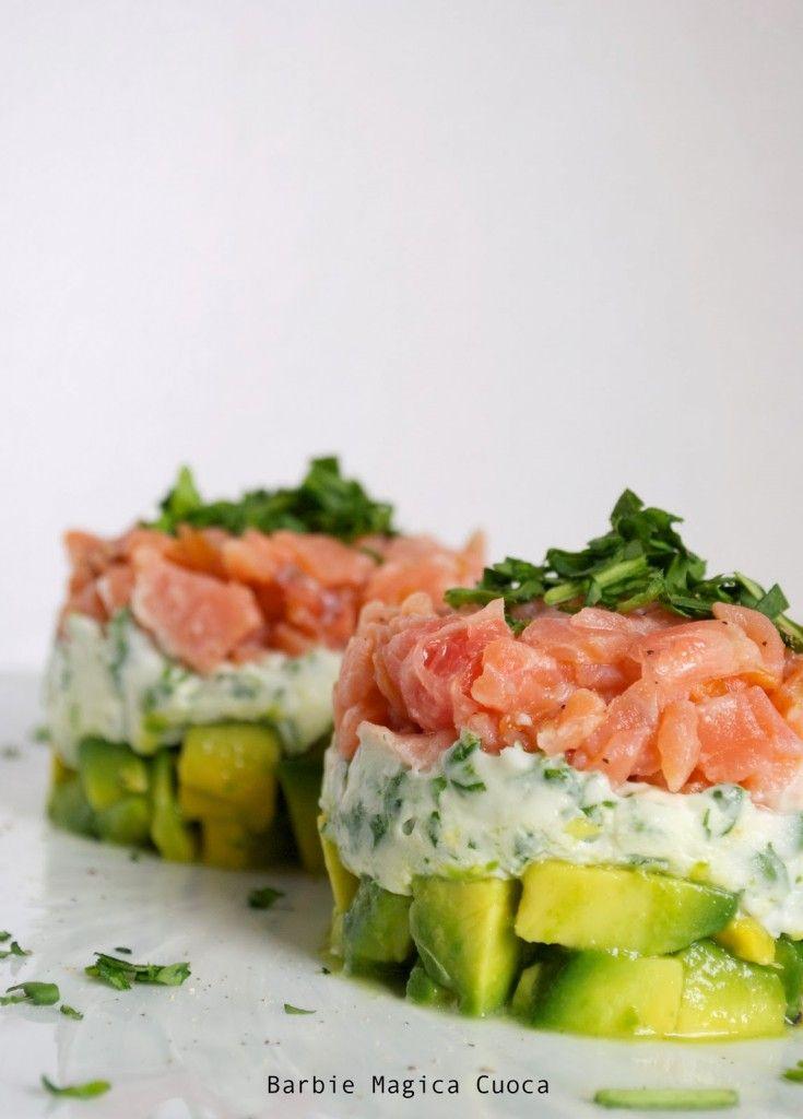 (finta) Tartare di salmone, ogni strato un colore! | Barbie magica cuoca - blog di cucina