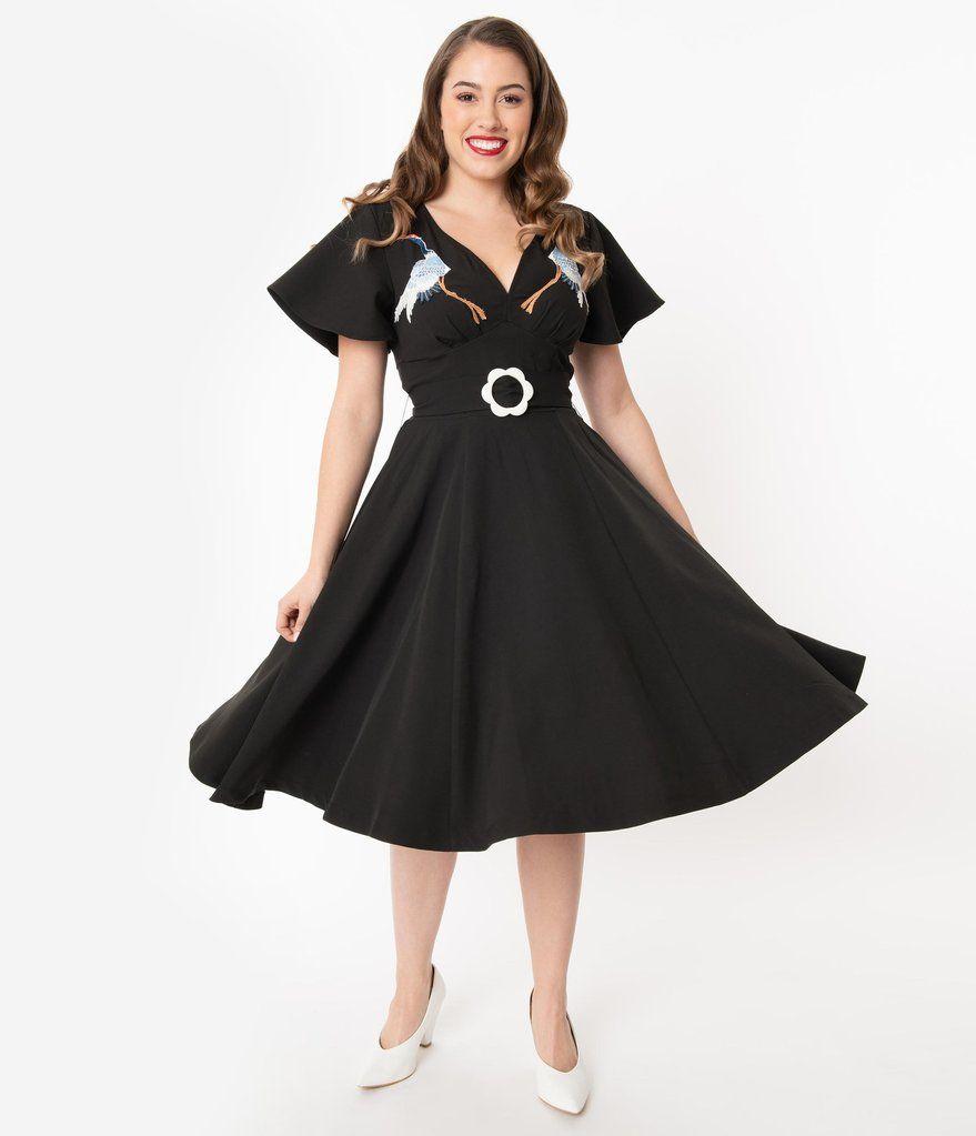 Unique Vintage 1940s Black Embroidered Crane Kay Swing Dress In 2020 Swing Dress Unique Dresses Dresses
