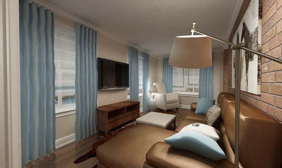 Короткие Шторы В Гостиную До Подоконника  Атмосферные Проекты Fascinating Blue Curtain Designs Living Room Review