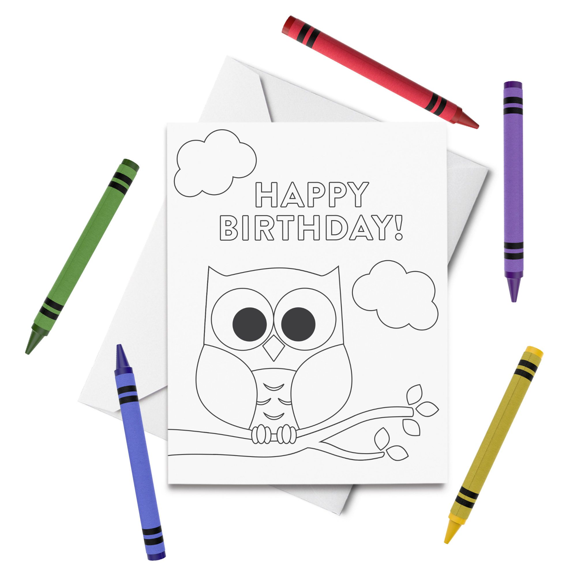 Printable Happy Birthday Coloring Card Owl Birthday Card Etsy Kids Birthday Cards Birthday Cards Diy Prints