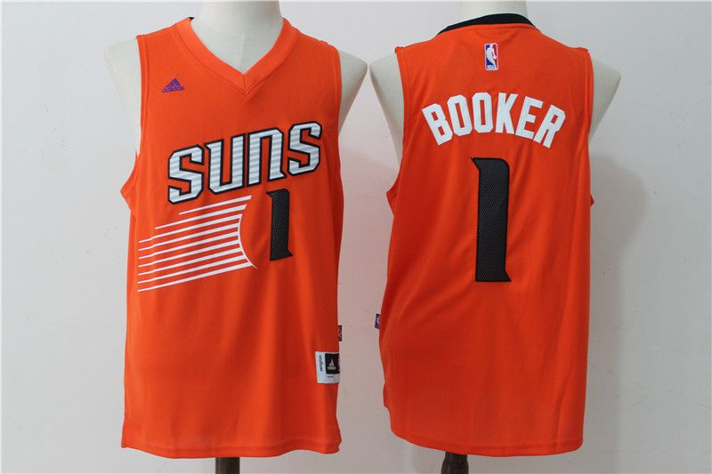 79fdaea3b Suns 1 Devin Booker Orange Swingman Jersey
