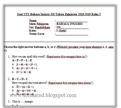 Soal Uts Bahasa Inggris Kelas 5 Sd Semester 2 Pdf