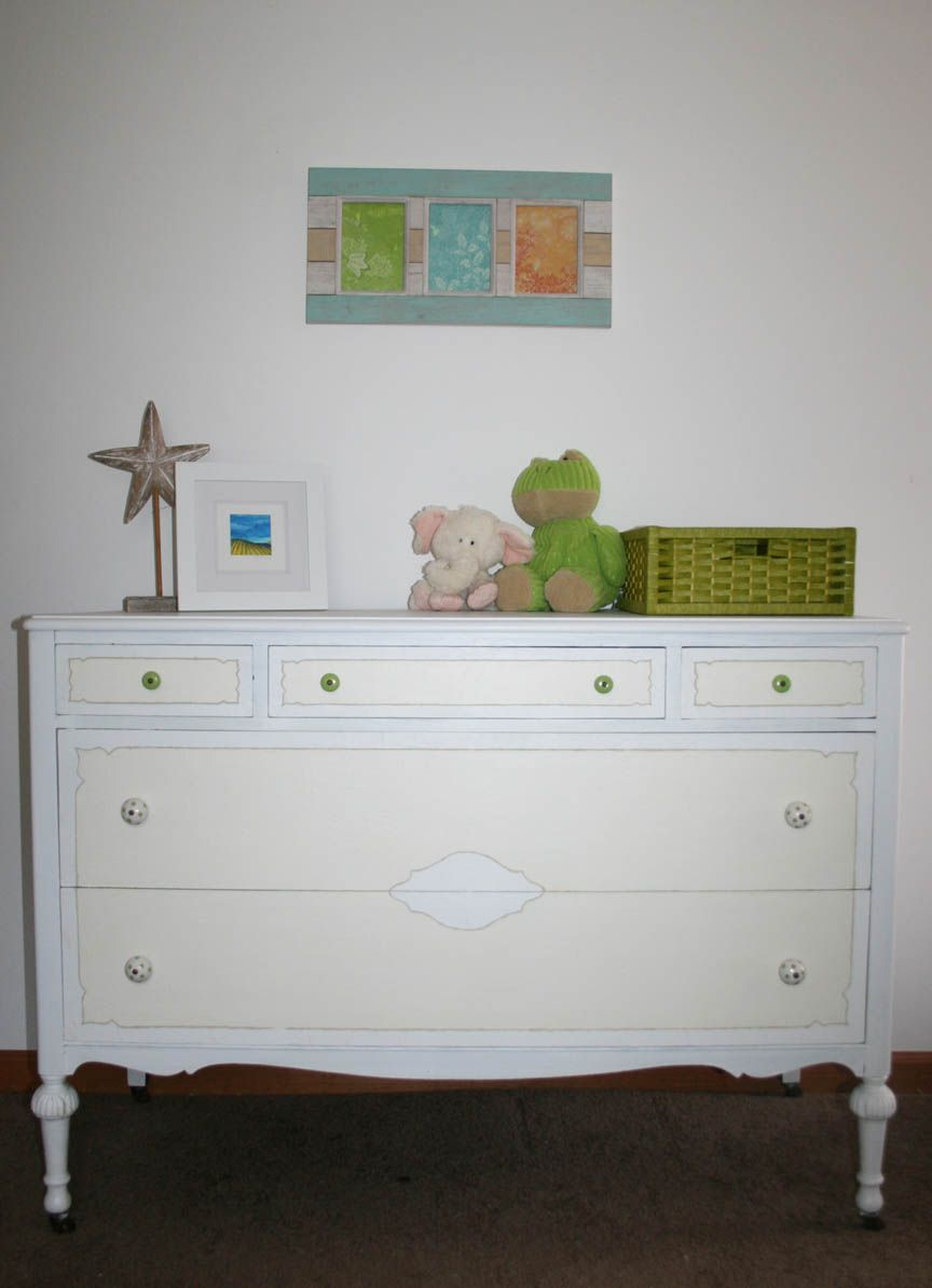 refinished painted dresser for nursery; Got this dresser for free by the side of the road, stripped the dirty, chipping veneer off the front and painted to showcase design