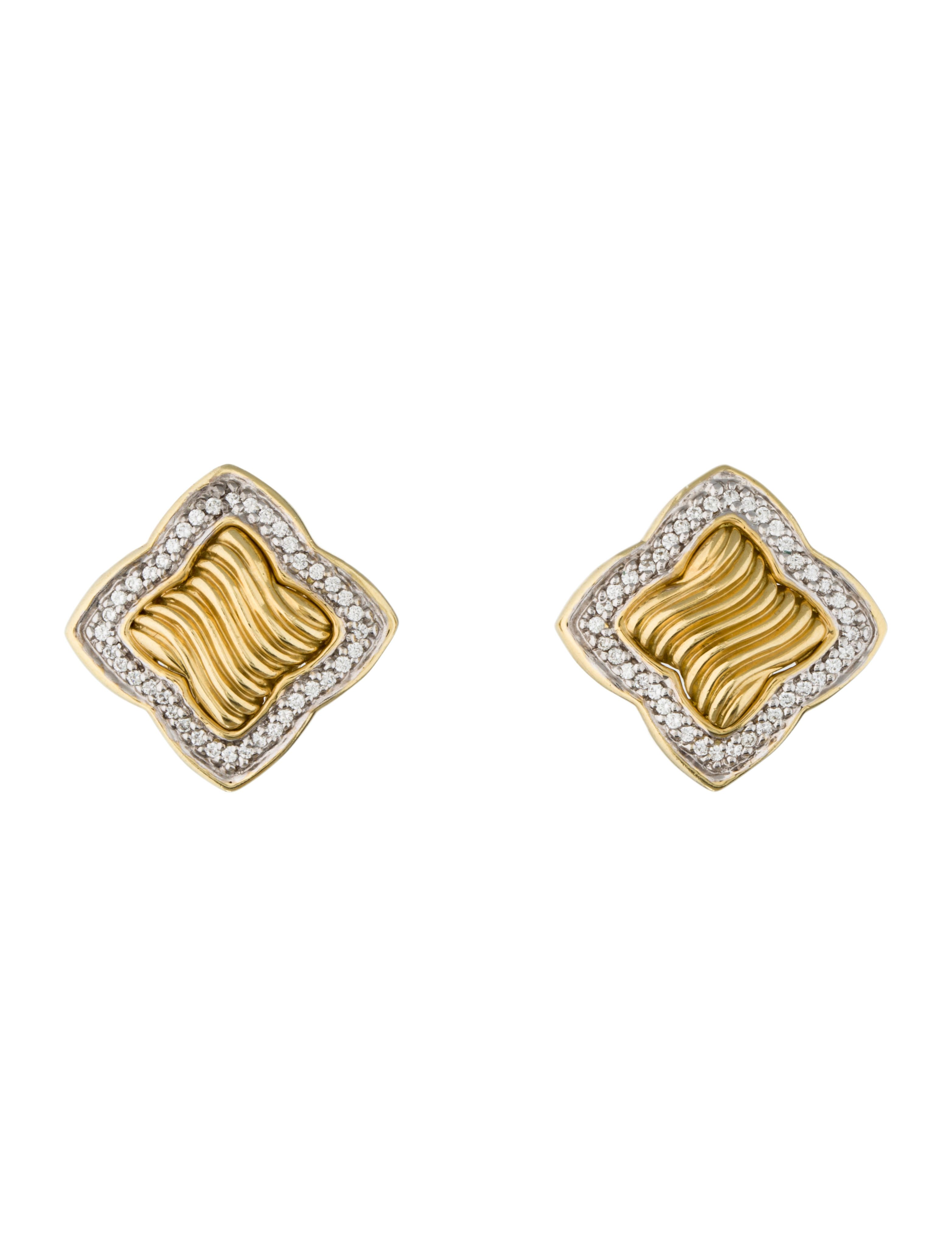 18k Yellow Gold David Yurman Quatrefoil Earring With Pavé Diamond Accents And Clip On Backs