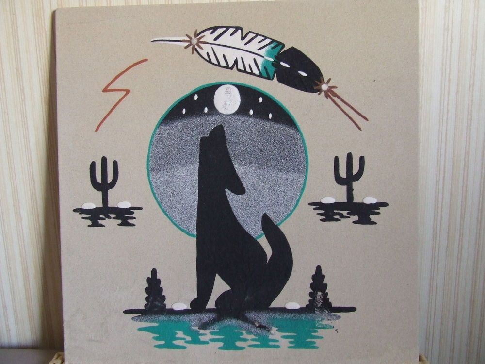 Coyote 16 handmade navajo sand painting signed arizona for Southwest arts and crafts