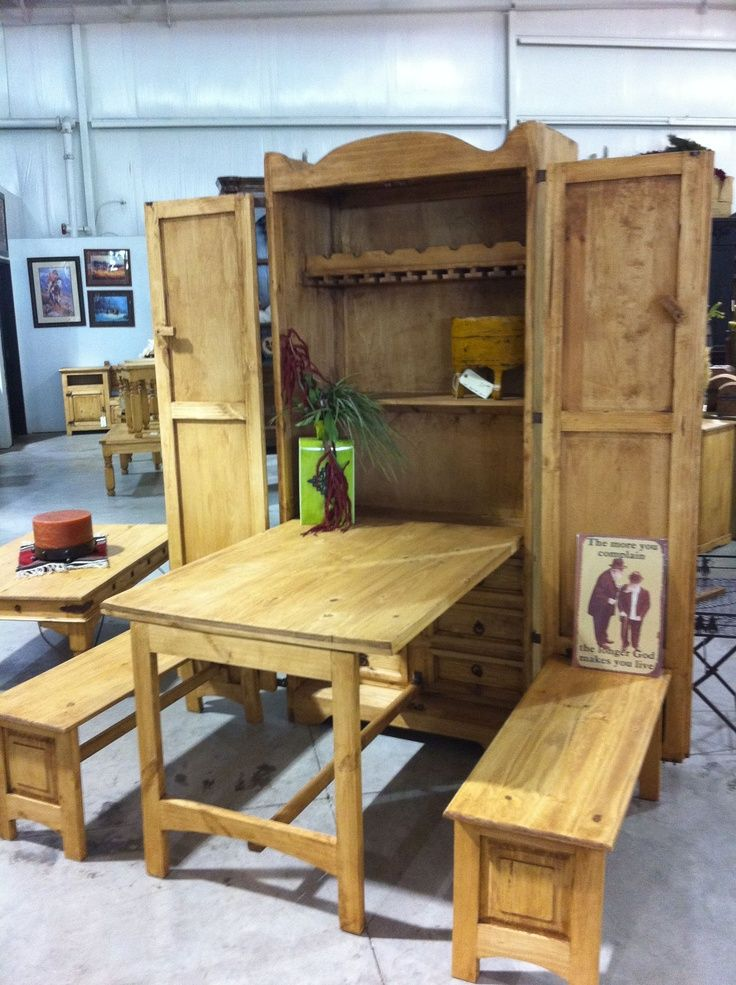 Love Cowboy Kitchen Pull Out Table And Benches Space Saving Cabinet When Closed Rustic Kitchen Tables Rustic Pine Furniture Home Furniture