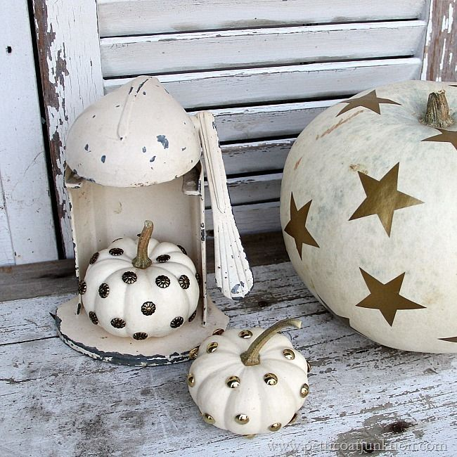 decorating ideas for small pumpkins Petticoat Junktion #white #pumpkins @Wallternatives & Decorating White Pumpkins for Holiday And Fall Displays   Small ...