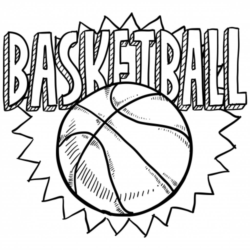 free coloring sheet of basketball for kindergarten - Kids Drawing Sheet