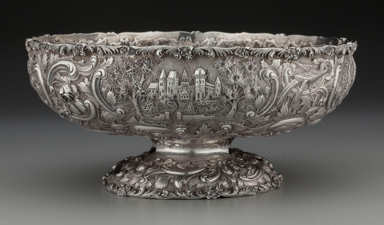 an american silver castle landscape bowl circa 1870 marks lot 75189