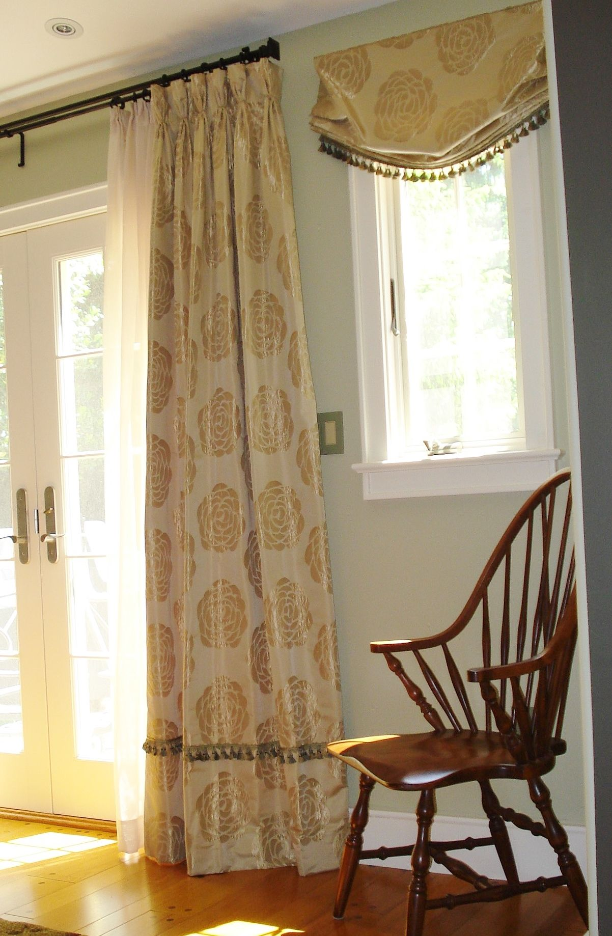 faux silk panels with casual pleated heading layers over sheer