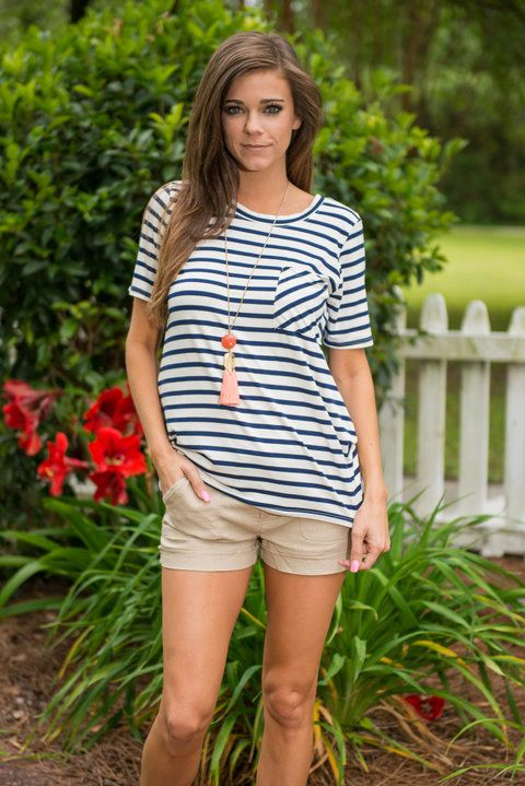 Hitch A Ride Top, Navy || You'll have no trouble catching a ride in this trendy top! It's the perfect casual cute top you have been needing! Striped tops like this are such an easy way to stay trendy and be super comfy! We love that the pocket's stripes are going a different direction! It makes it stand out so much more! All you need is a fun necklace and some comfy shorts or jeans!