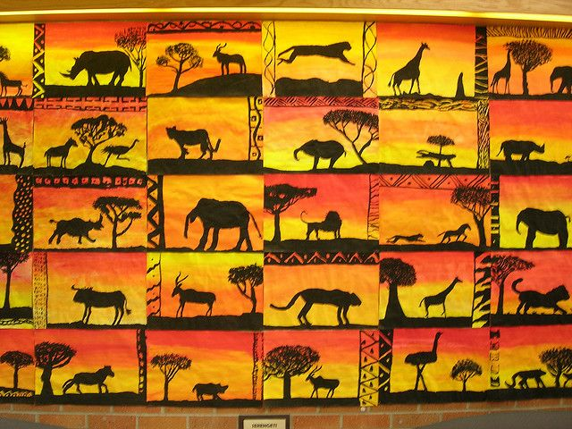 African Animal With Sunset Art Collage