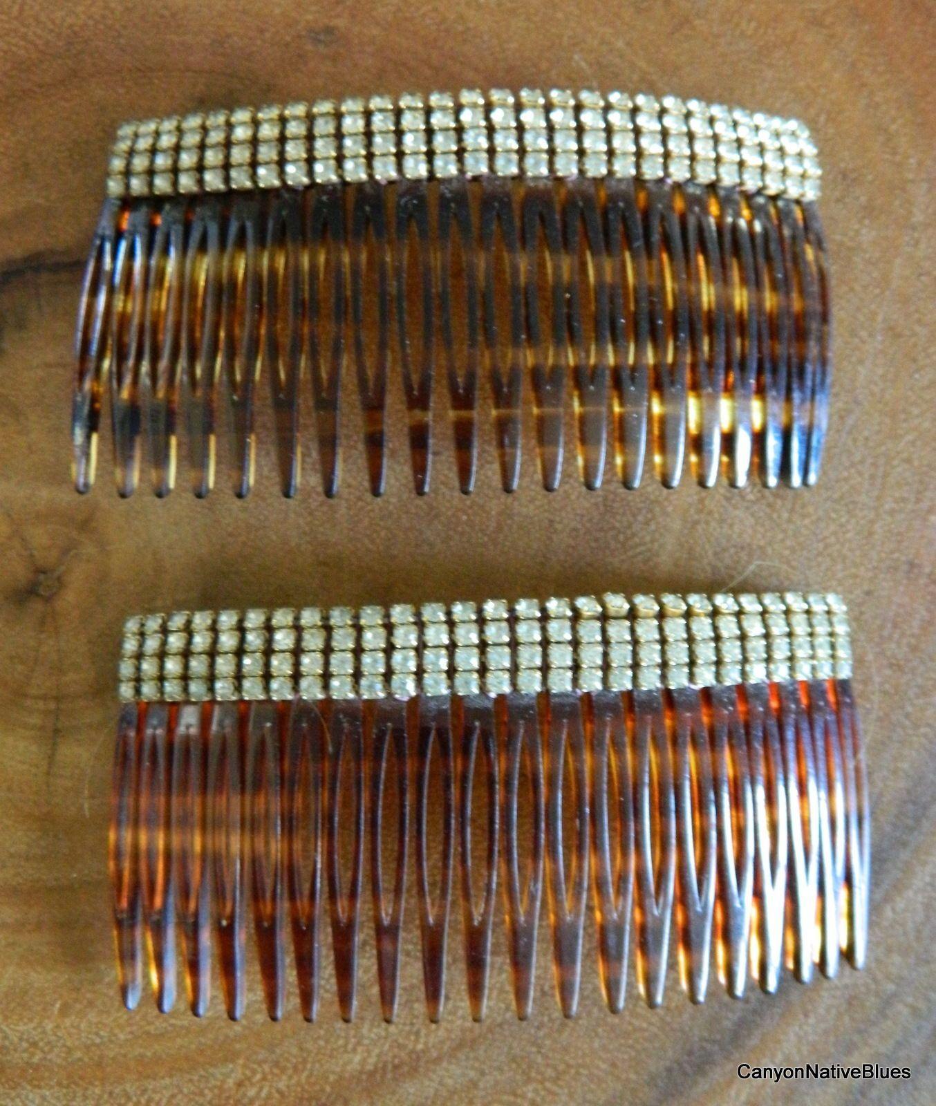 Vintage Matching PAIR RHINESTONE Hair Combs FRANCE | eBay