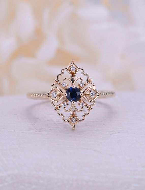 Photo of Natural sapphire engagement ring Vintage engagement ring 14k rose gold ring roun…