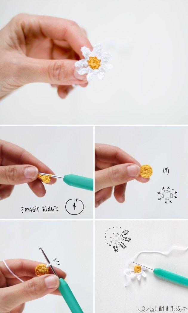 Pasos para hacer una margarita de ganchillo | flores | Pinterest ...