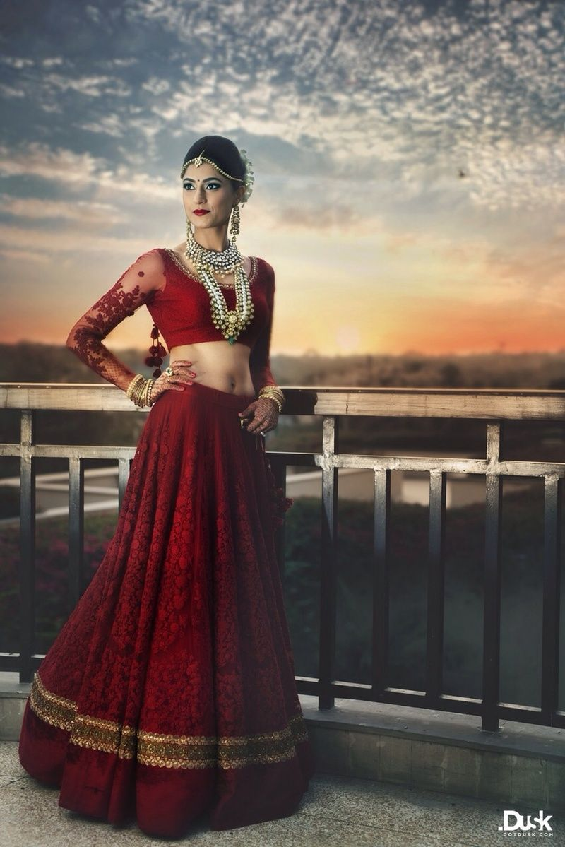 red bridal lehenga with threadwork and pearls in red | Shirin