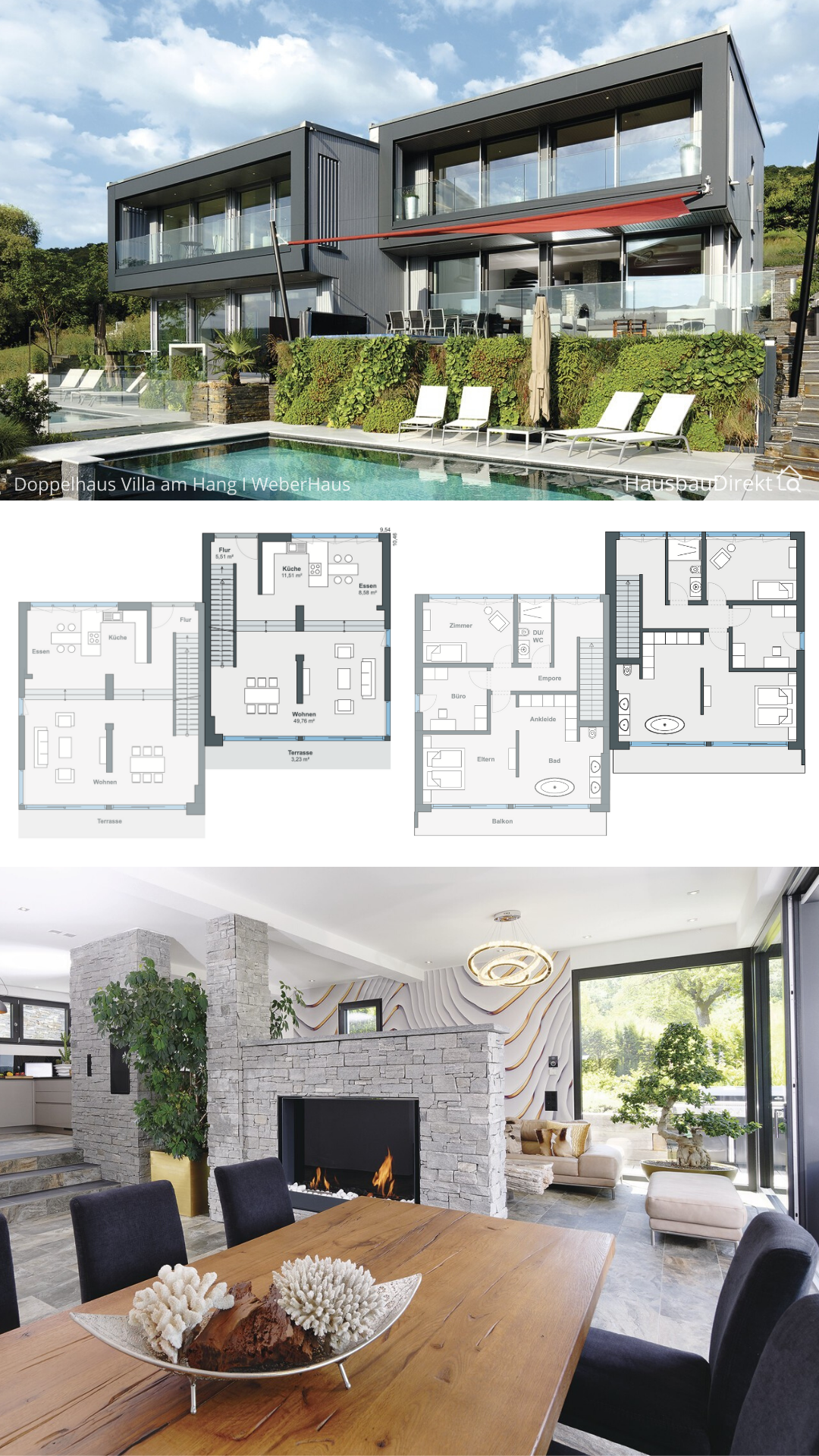 Modern Duplex House Plans Side by Side on Hillside with ...