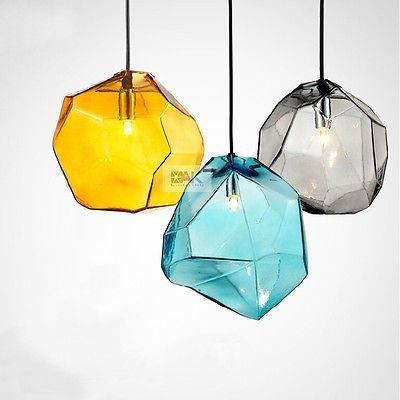Modern Glass Ice Cube Pendant Light Lamp Grey Yellow Blue Ceiling Fixture Lights Yellow Pendant Light Modern Glass Pendant Light Ceiling Pendant Lights