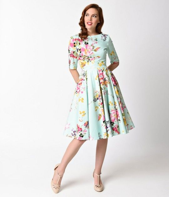 3a9582790153 Made for a fabulous swagger! The Vintage Hepburn dress has arrived fresh  from The Pretty Dress Company in a gorgeous mint and signature floral Seville  print ...
