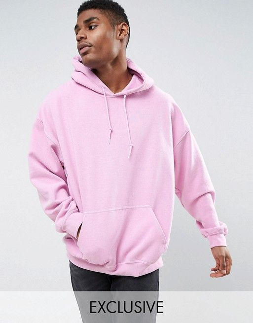 Reclaimed Vintage Inspired Oversized Hoodie In Pink Overdye Asos In 2020 Mens Sweatshirts Hoodie Hooded Sweatshirt Men Mens Sweatshirts