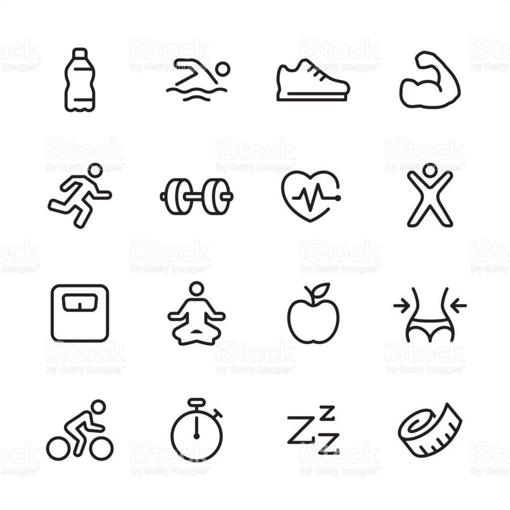 16 Line Black And White Icons Set Fitness Icon Doodle Icon Icon Set