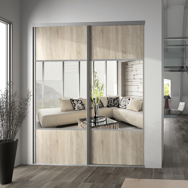 Porte Placard Coulissante Miroir Chêne Clair X Valla - Porte placard coulissante de plus porte bois