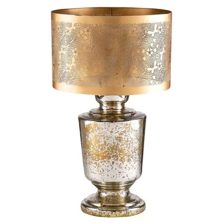 Dynia Gold Crackle Mercury Glass Table Lamp Jardins De Casas Abajur