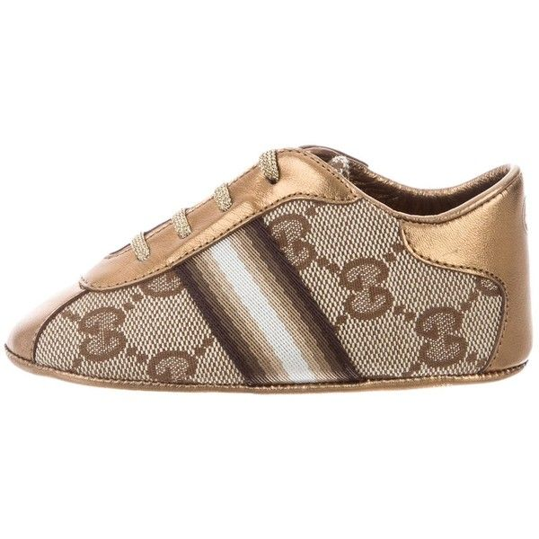 Pre-owned Gucci Girls' GG Canvas Web Sneakers (1.210 NOK) ❤ liked on Polyvore featuring brown