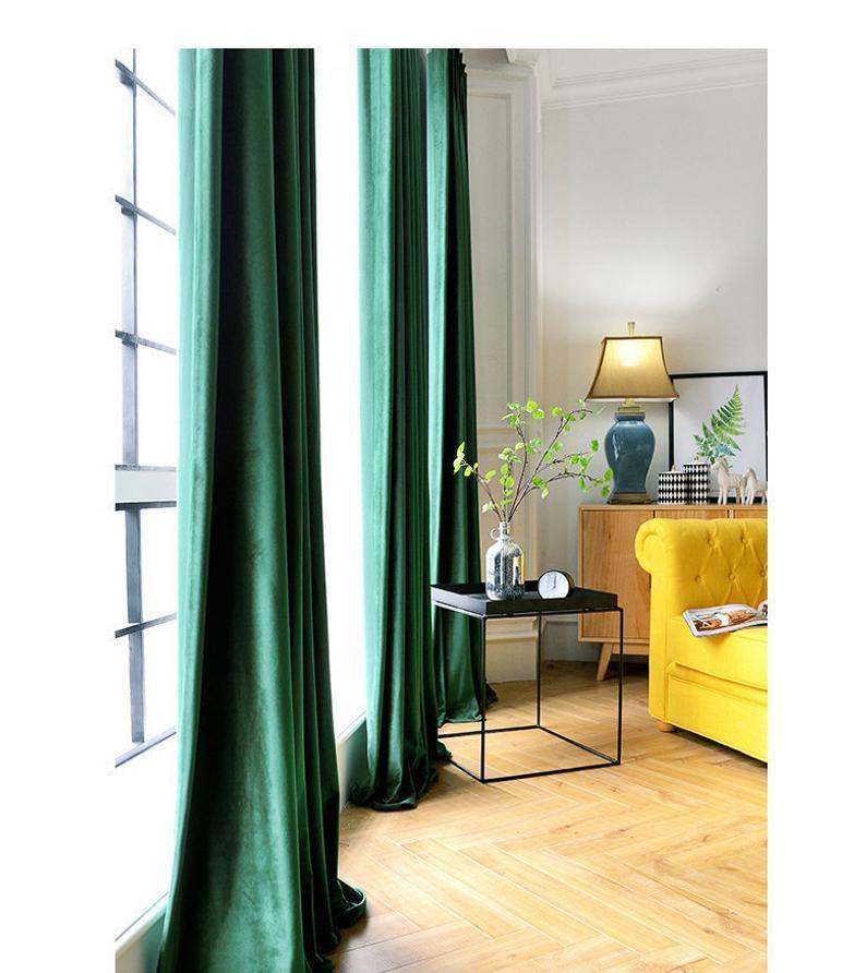 Pair Of Emerald Green Velvet Curtains Bedroom Velvet Etsy Green Curtains Bedroom Blue Velvet Curtains Velvet Curtains Living Room