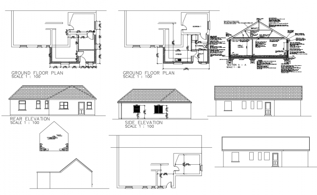 Floor Plan Of Residential House With Elevation In Autocad Floor Plans Open House Plans Ground Floor Plan