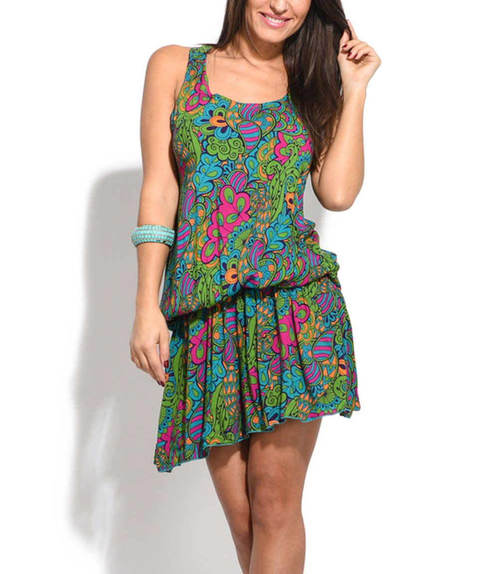 9ac3c89658 Take a look at this Baba Design Green Paisley Racerback Blouson Dress today!