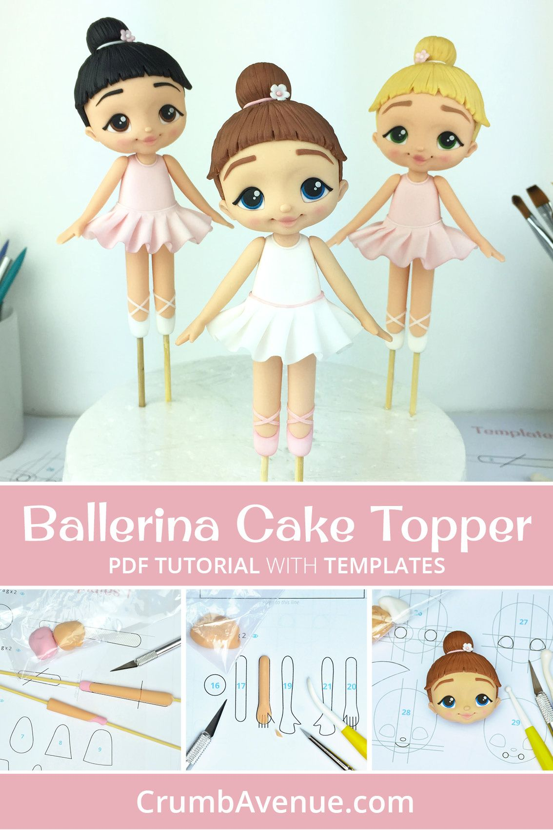 Ballerina - PDF Cake Topper TUTORIAL with TEMPLATES | Cake ...