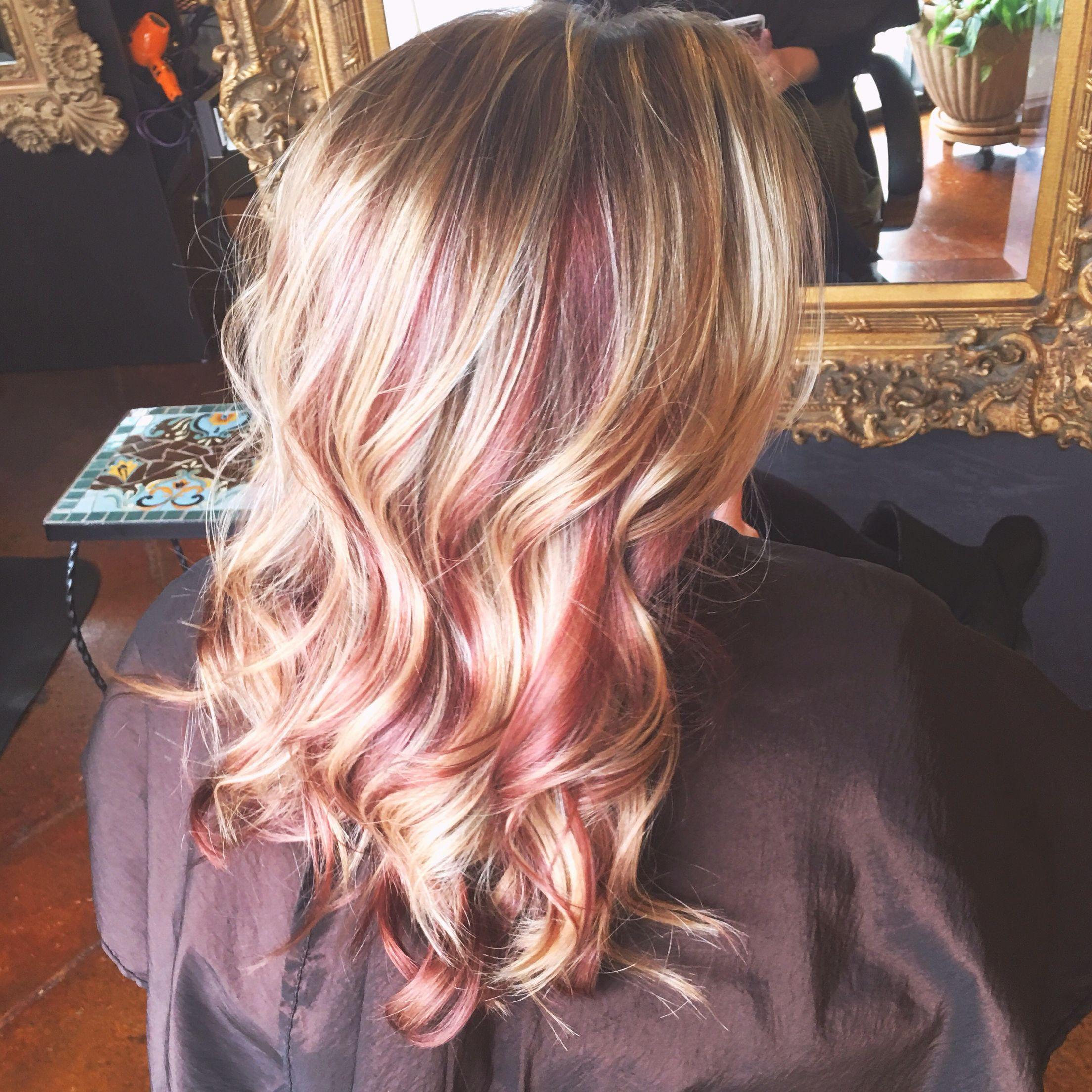 Dusty Rose Gold Peek A Boo Hair Color Hair Color Flamboyage Hair Color Rose Gold Summer Hair Color