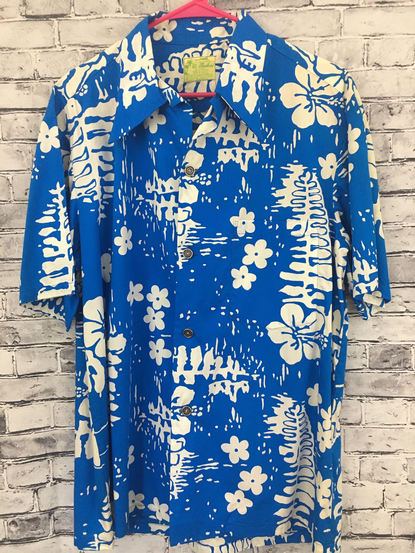 15b6e071 Men's Vintage Ui-Maikai Hawaiian Blue White Floral Shirt Size XL Cruise  Aloha Vacation by