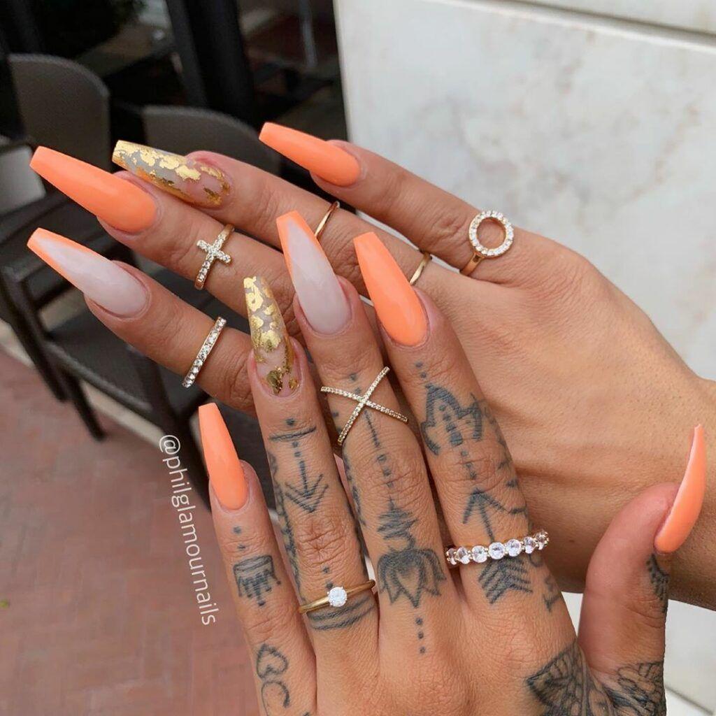 Orange Nail Color And Long Coffin Nail Design On Dark Skin Orange Nail Designs Orange Nails Orange Nail Art