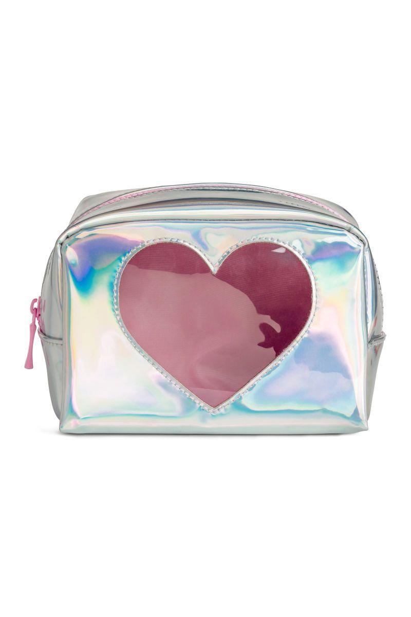 Shimmering Makeup Bag Silver Colored Metallic Sale H M Us
