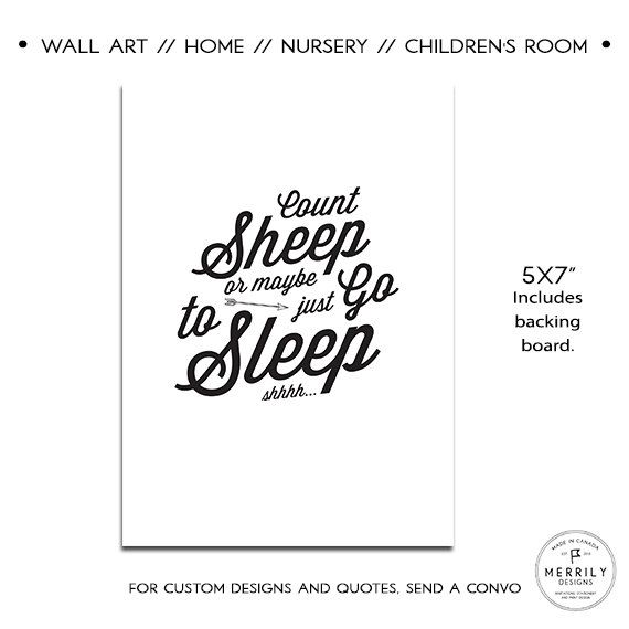 Count Sheep Or Maybe Just Go To Sleep Funny Nursery Artwork Baby