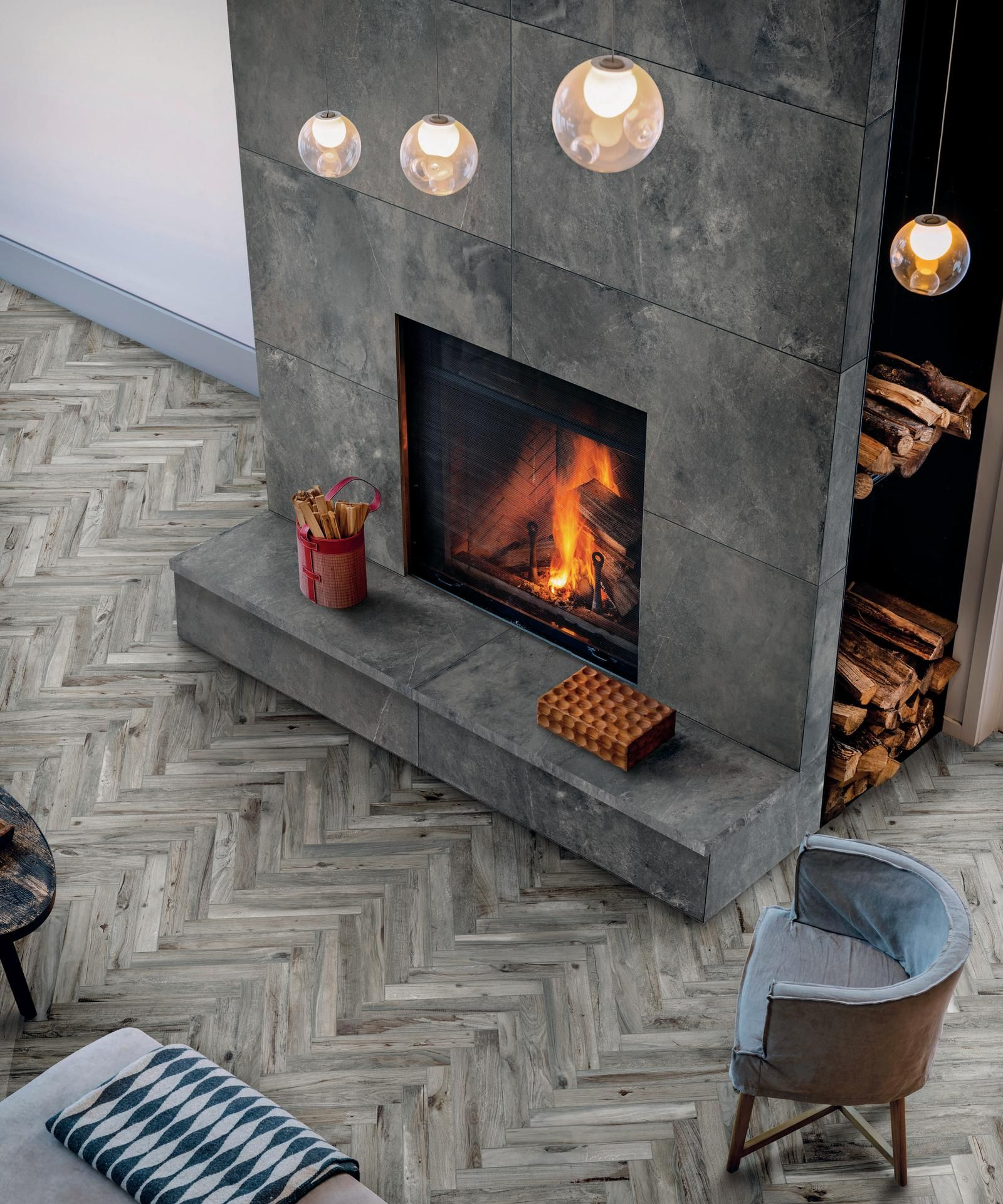 Amazing Tile Fireplace With Herringbone Floor And Glass Pendants