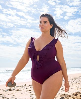 a9f78ed81aa Becca Etc Plus Size Color Code Ruffled One-Piece Swimsuit - Black 0X ...