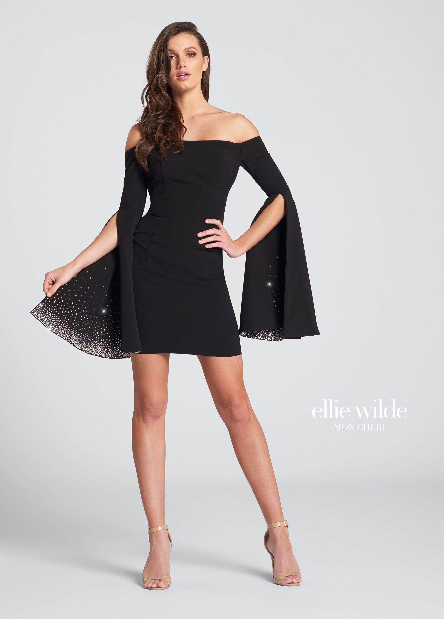 Black Bell Sleeve Off-The-Shoulder Mini Dress- EW21729s | Pinterest ...