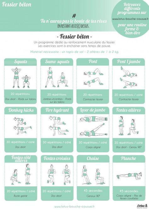 Programme-fessier-béton-LBC Health  fitness Pinterest Crossfit