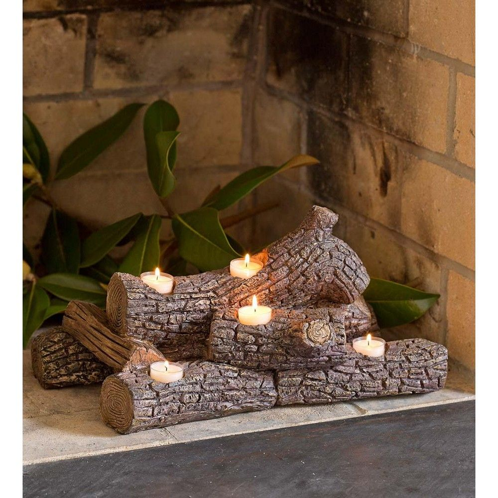 Elegant Logs Fireplace / Hearth Candle Holder, Oak Plow