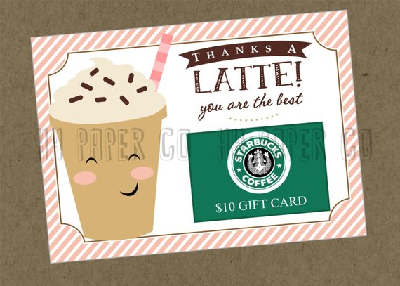 photograph about Starbucks Printable Gift Card titled Due A Latte Present Card Holder Printable - Instructor Present