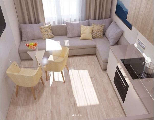 Кухня-гостиная или просто кухня с диваном на 13 кв. метрах ...