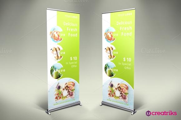 Fresh Food Roll Up Banner Pull Up Banner Design Standee Design Banner Design